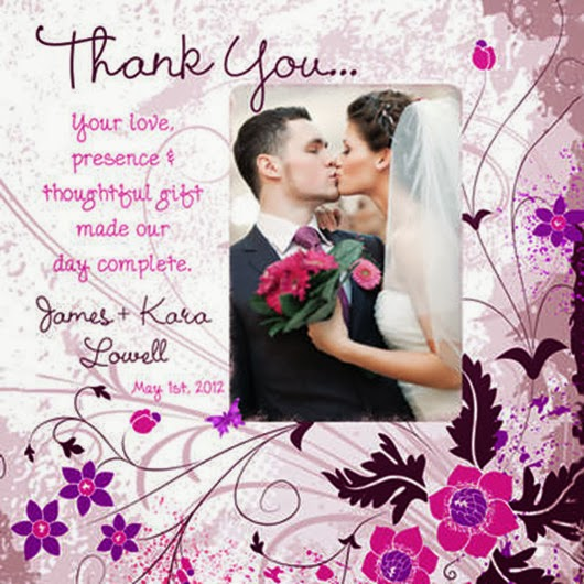 purple wedding photo invitations Leaves Flowers Butterfly Thank you cards