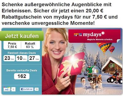 DailyDeal: 20-Euro-mydays-Gutschein für 7,50 Euro