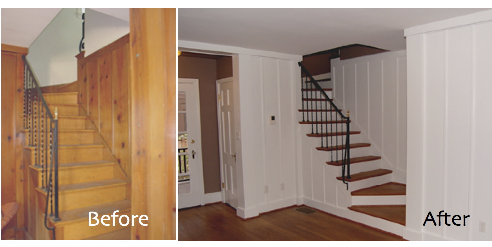 Painted wood paneling before after b b Can you paint wood paneling