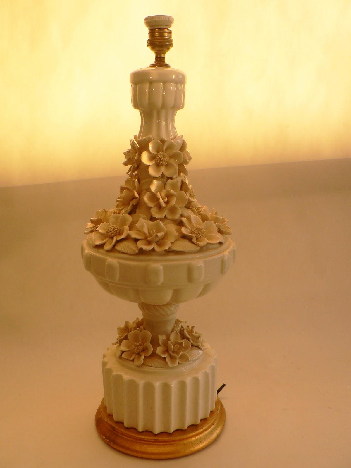Vintage kitsch siglo xx lampara de mesa ceramica de - Lamparas de ceramica ...