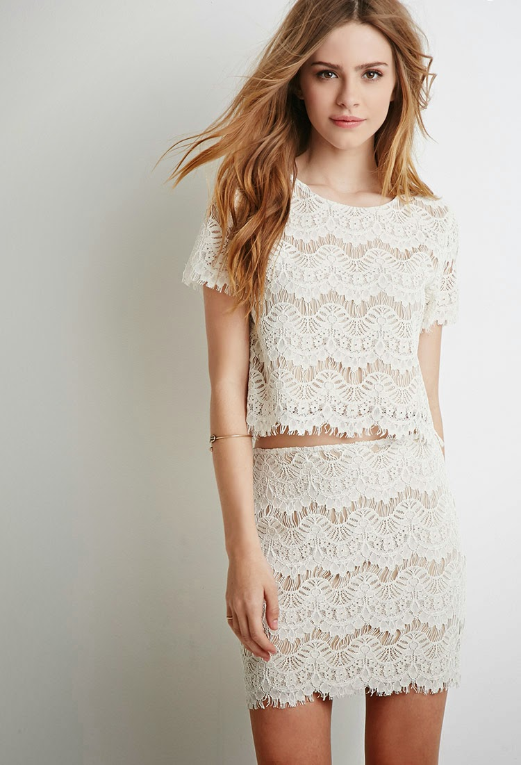 Matching Boxy Eyelash Lace Top and Mini Skirt Set