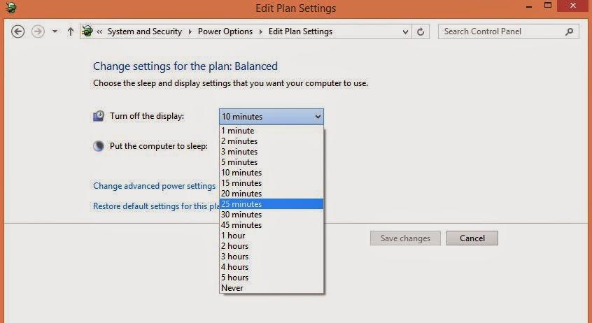 Cara Mengubah Durasi Screen Timeout Windows 8