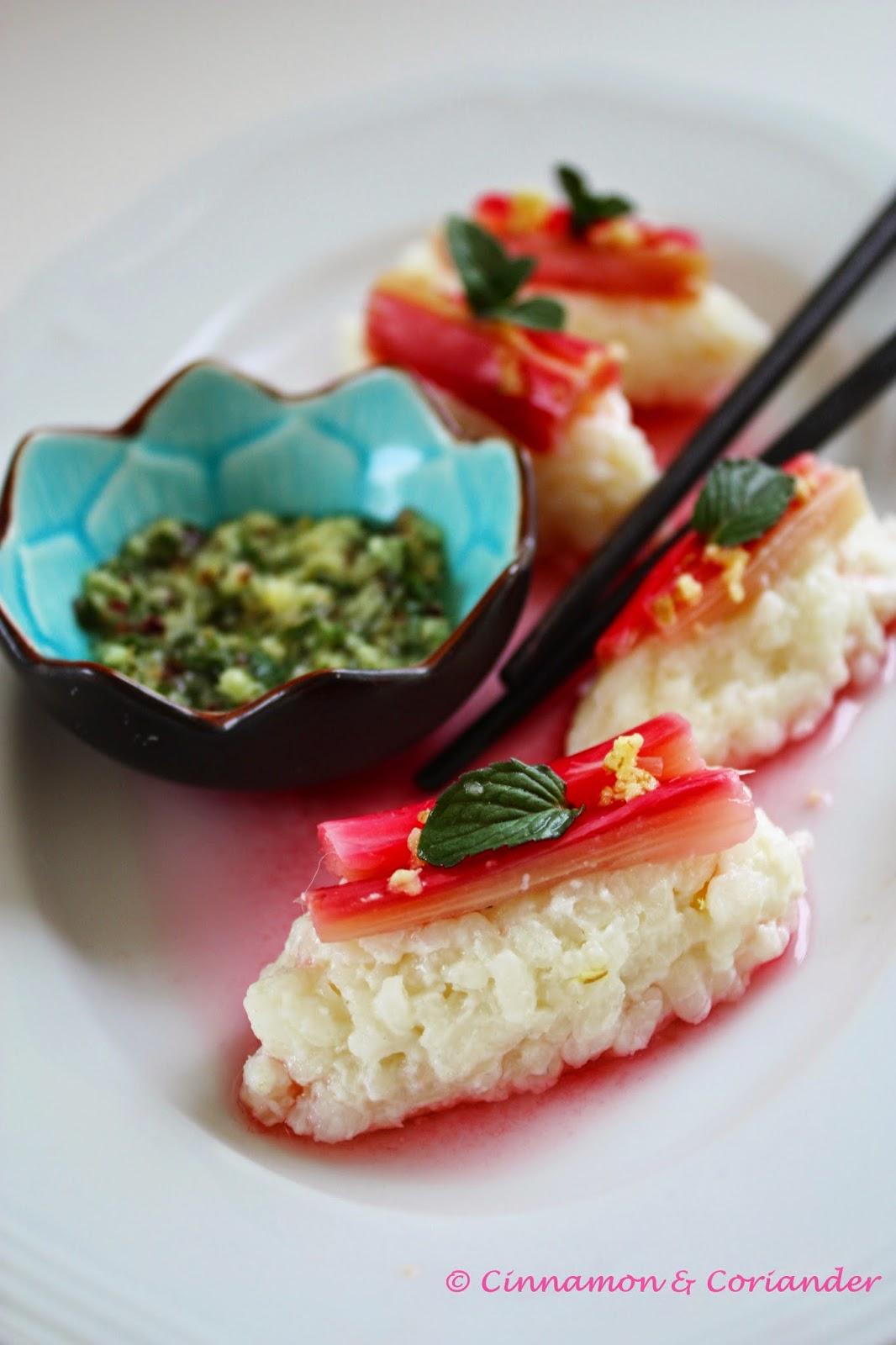 Süßes Sushi mit Rhabarber und Ingwer Minze Sauce