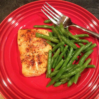 Baked cod and fresh green beans