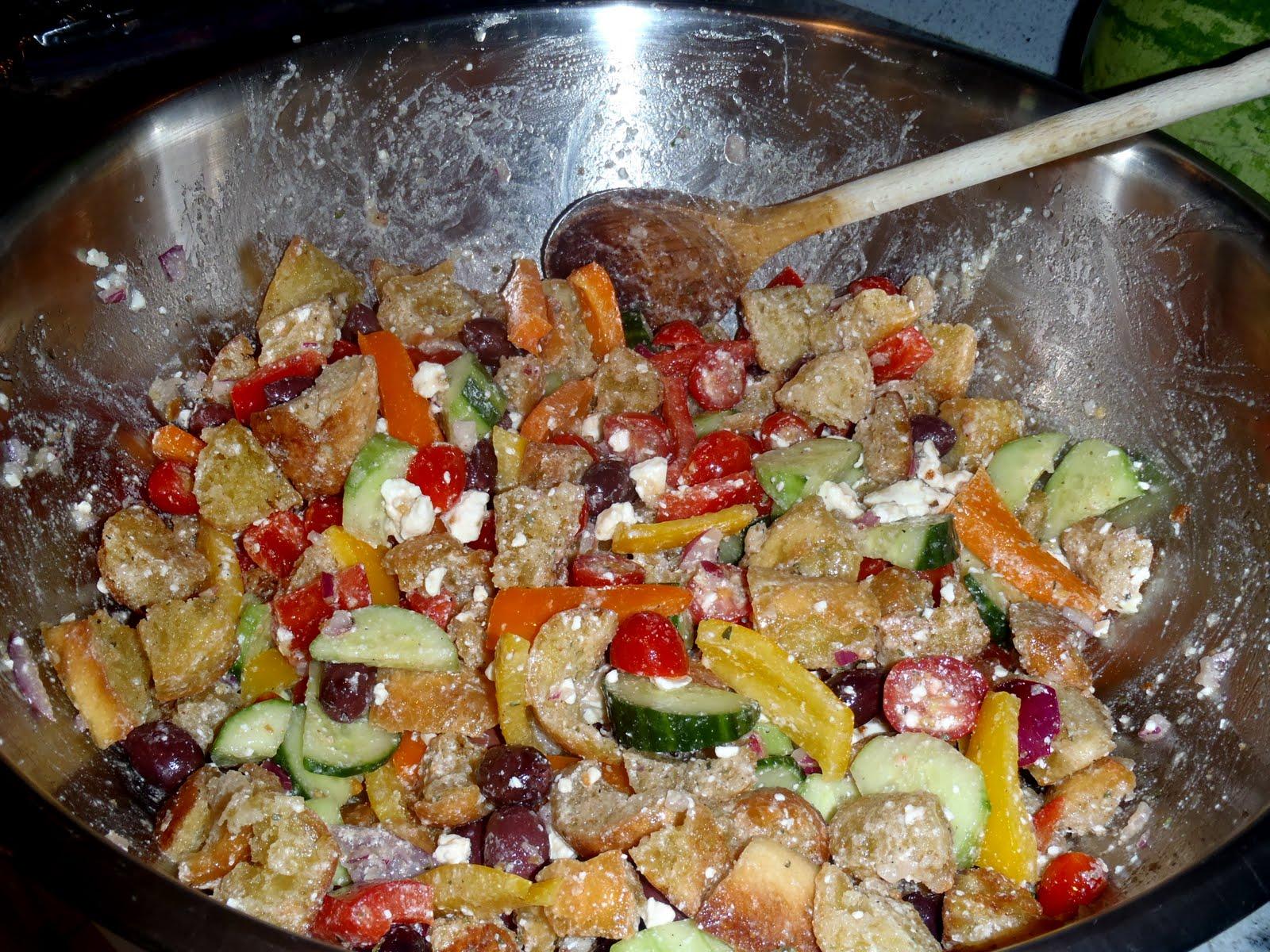The Garlic Goddess Greek Panzanella Salad