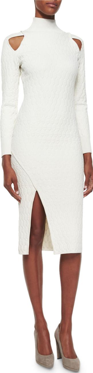 Jonathan Simkhai Quilted Cutout Turtleneck Sheath Dress, Ivory