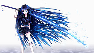 Cute Girl Long Blue Hair School Uniform Long Katana Sword Weapon Anime HD Wallpaper Desktop PC Background  1999