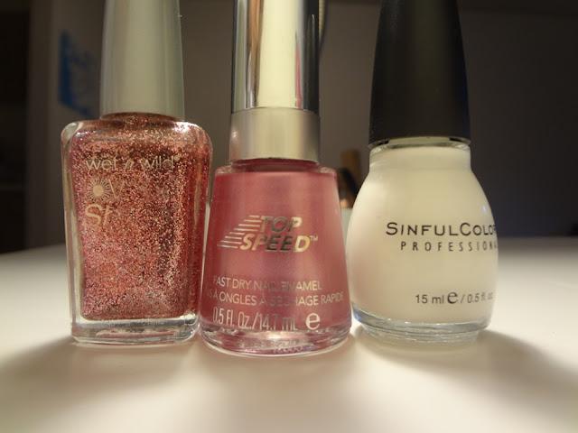 pink sparkly white nail polish