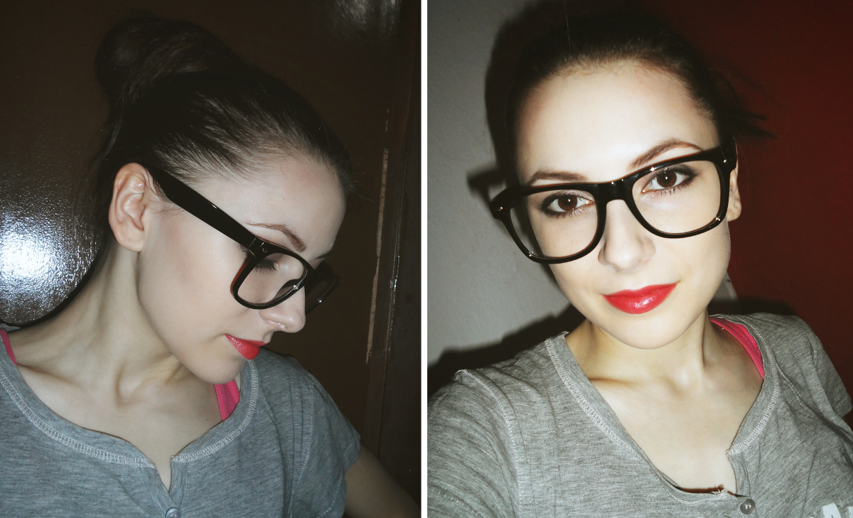 thick big glasses, makeup tutorial for brown eyes