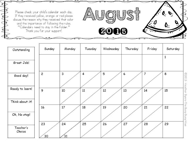 The Busy Busy Hive behavior calendars