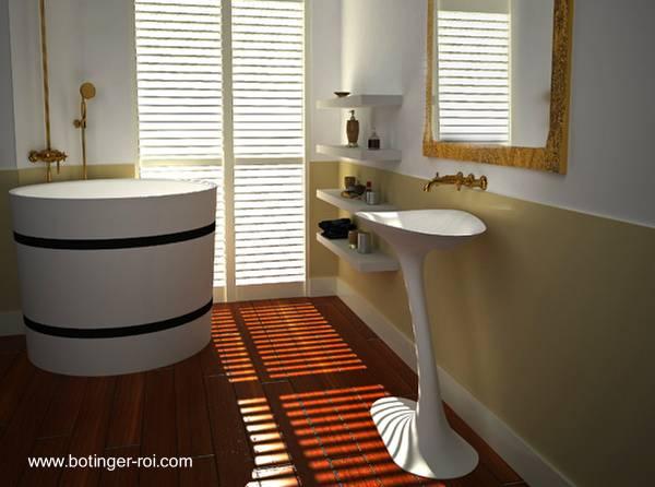Baños Residenciales Modernos:Cuarto de baño moderno y lujoso con bañera tipo tonel y lavamanos de