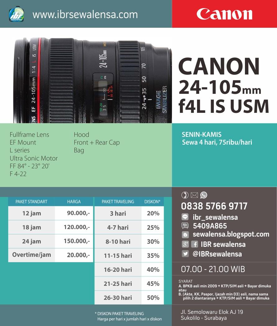 Harga Sewa Rental Canon 24-105 f4 L IS USM Surabaya