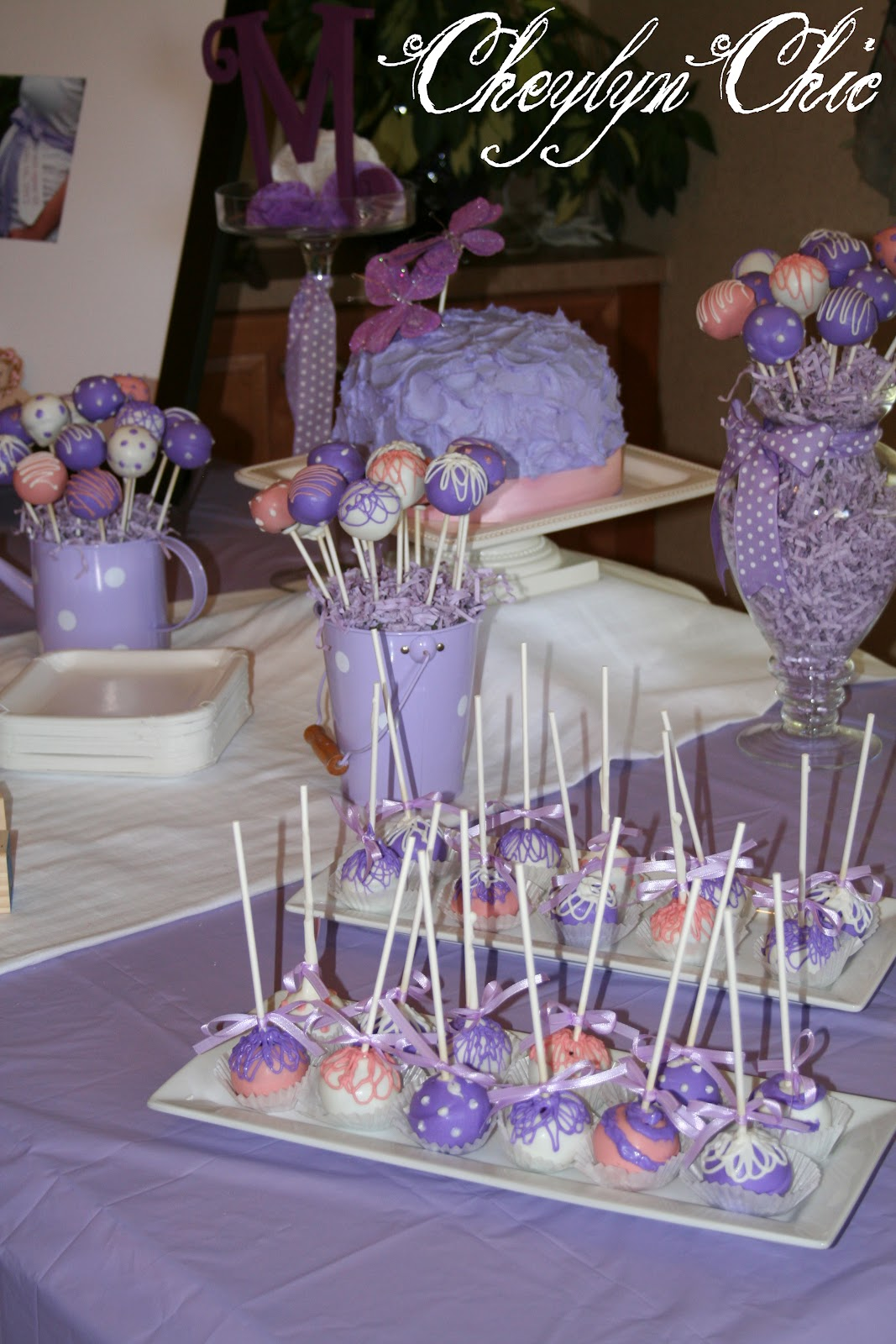 lavender baby shower which also inspired the photo tree with tissue
