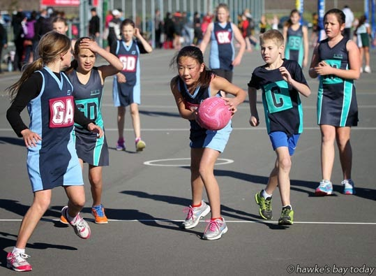 L-R: Maia Young-Pomana, Port Ahuriri Pulse; Kiarah Miringaorangi, Grenmeadows Magic; Rui Katayama, Port Ahuriri Pulse; Jarred Kinsey, Greenmeadows Magic - Greenmeadows School, Napier, vs Port Ahuriri School, Napier - grade two final, Hawke's Bay Primary Schools netball tournament at Hawke's Bay Sports Park, Hastings photograph