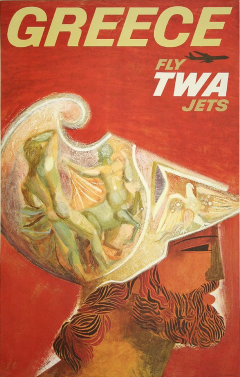 classic posters, free download, graphic design, retro prints, travel, travel posters, vintage, vintage posters, Greece, Fly TWA Jets - Vintage Travel Poster