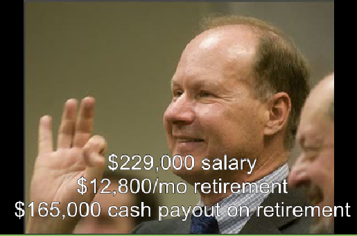 $229k Salary+lots of perks+$12.8k/mo for life when he retires+$165K cash the day he leaves
