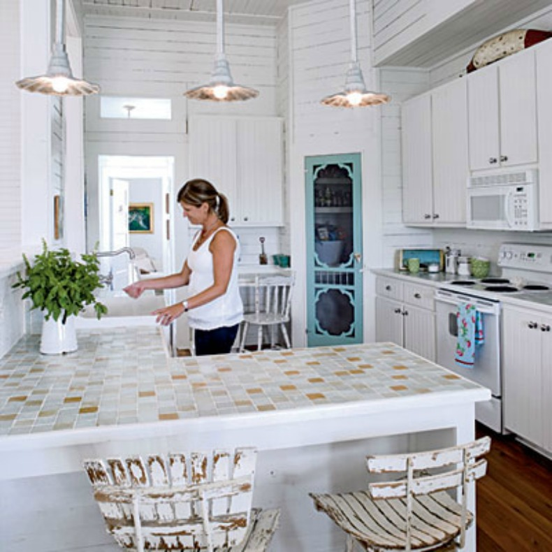 cottage chic, coastal lighting in Kitchen
