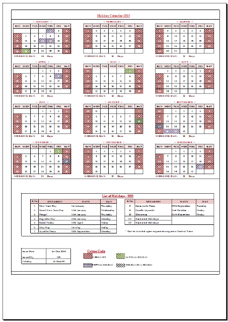 Holiday Calendar 2015 For India Sample Template Example of Leave – Sample 2015 Calendar