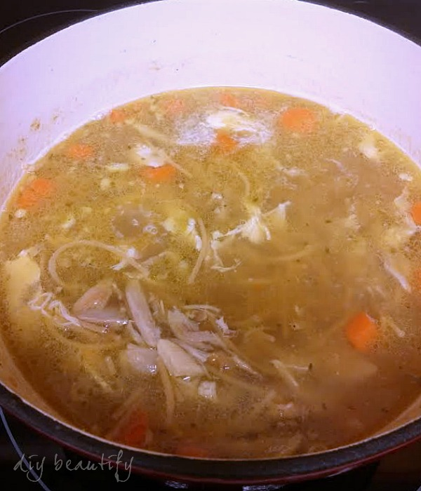 chicken noodle soup made from rotisserie chicken