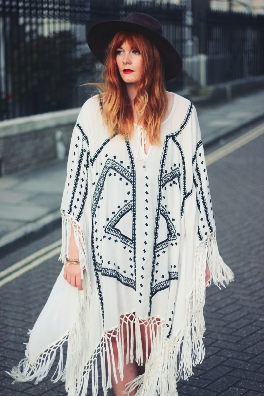 Oversized Embroidered Bohemian Poncho & Velvet Boots