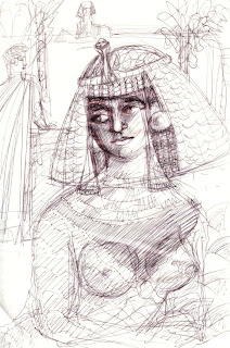 rough drawing of Cleopatra