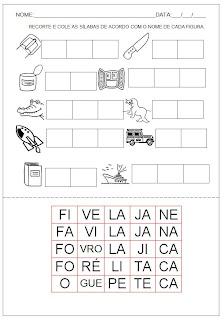 Hipótese de escrita silábica com valor sonoro - Recorte e cole as sílabas