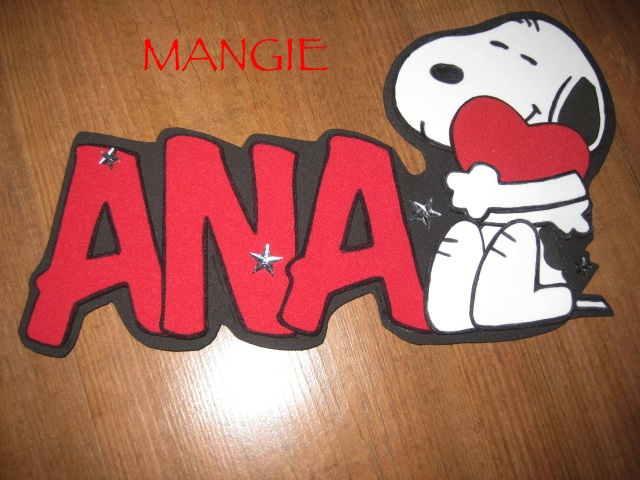 Letrero Ana goma eva Snoopy