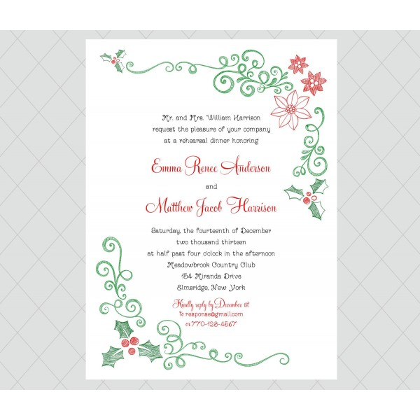 White Wedding Invitations: Wedding Rehearsal Dinner Invitations