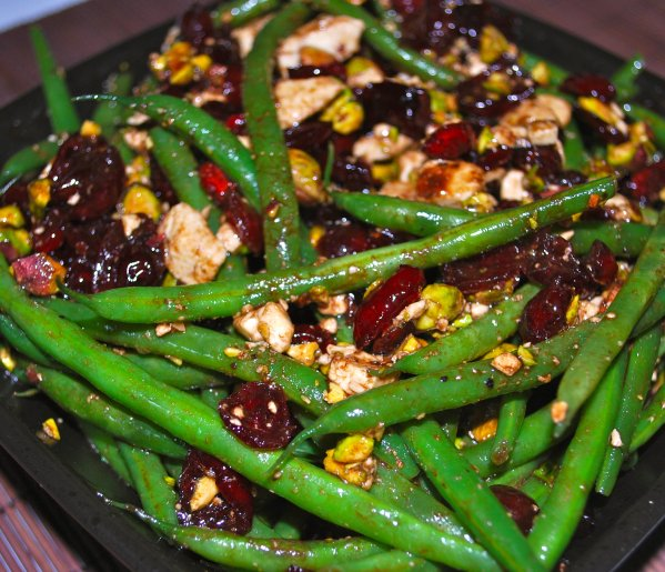 Haricot Verts with Feta, Cranberries & Pistachios