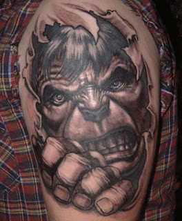 3d tattoo: Hulk's face