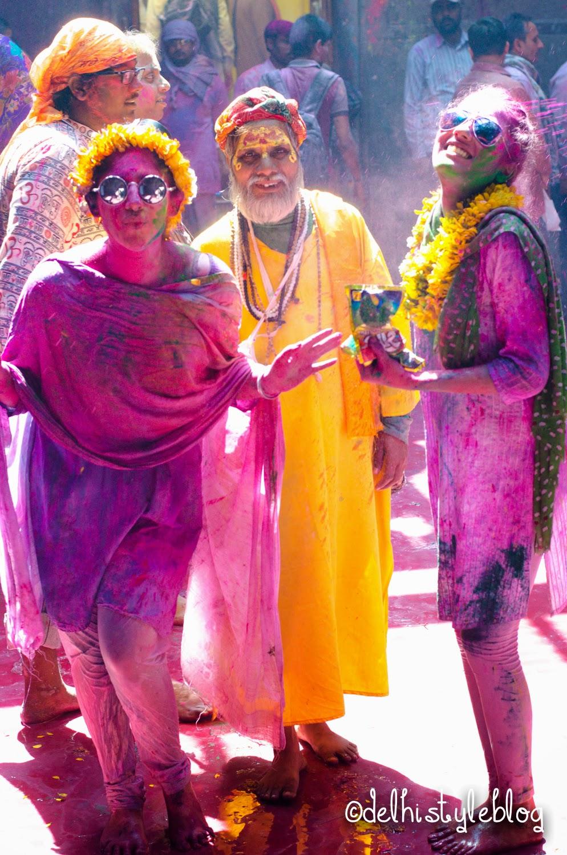 Holi at Banke Bihari Temple 7