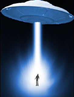 An artistic image of UFO and Alien abduction (http://thealientheories.blogspot.com)