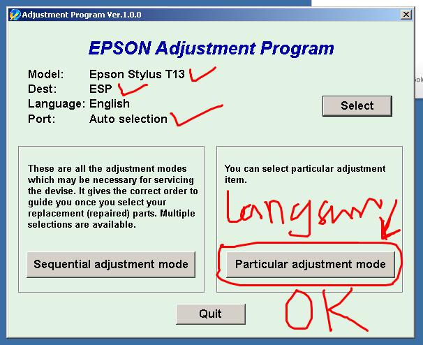 Tahap 3 Reset Epson T13 dan S22