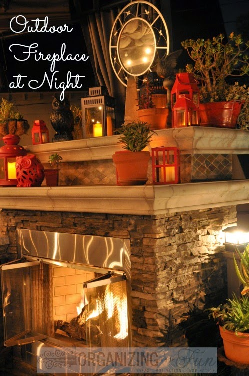 Outdoor Fireplace at night :: OrganizingMadeFun.com