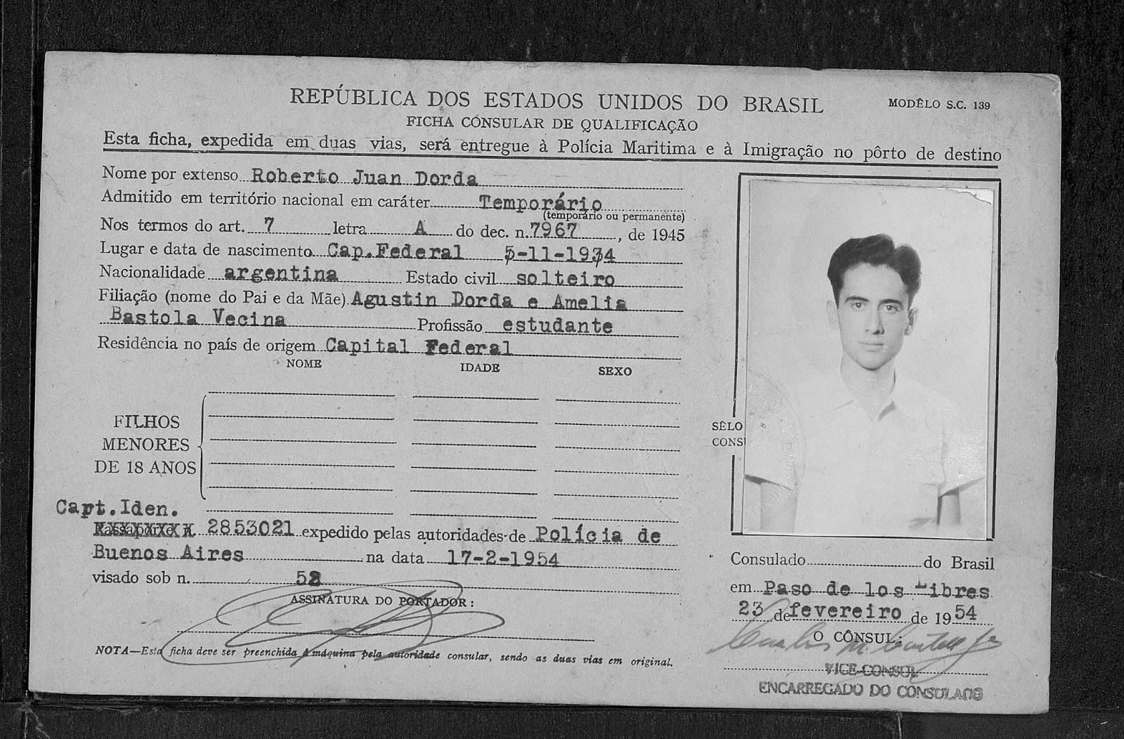 Roberto Dorda , visa Brasil, Liberaij