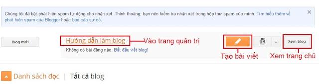 Làm quen với giao diện Blogspot - Danh sách blog