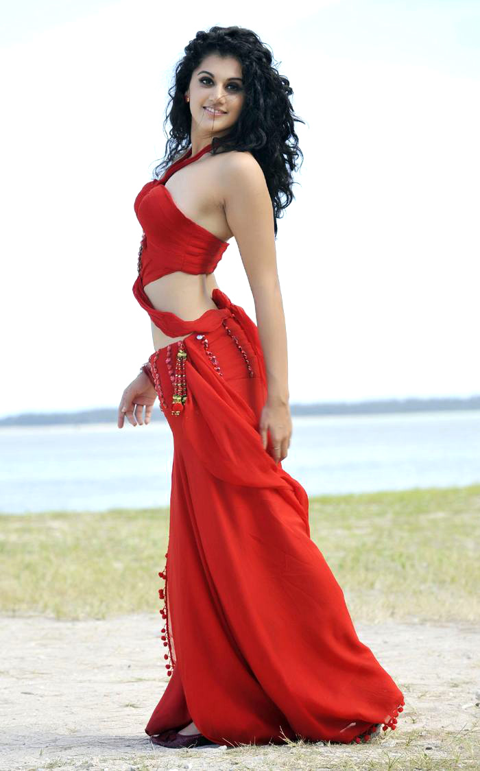 gloriousTapsee hot in red dress at beach