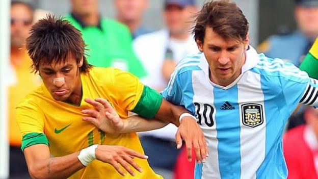 Las apuestas deportivas ya están jugando el Mundial Brasil 2014. Neymar Messi Brasil Argentina