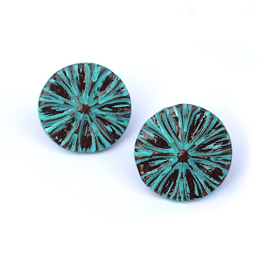 Teal Polymer Clay Stud Earrings By Jp With Love On Etsy