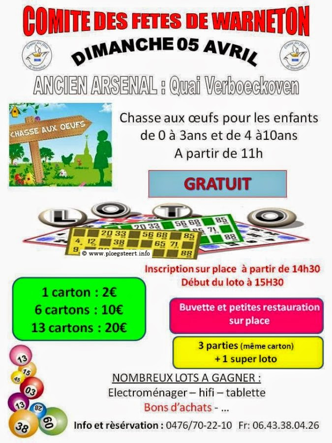 5 avril Warneton chasse aux oeufs et loto.
