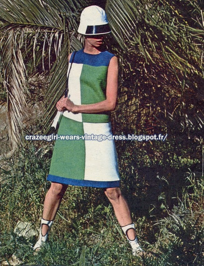 Colorblock dress - 1966 60s 1960  color block blue white  green hat cap