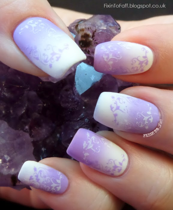Matte Reverse gradient stamping nail art MoYou Nails