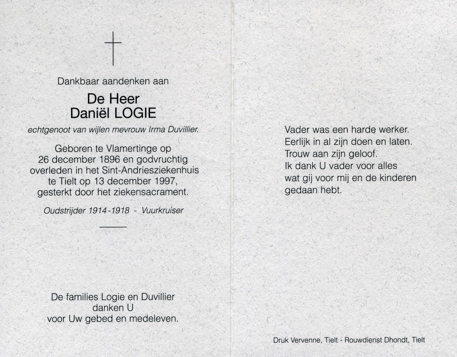 Bidprentje Daniël Logie 1896-1997. Verzameling Leondyme