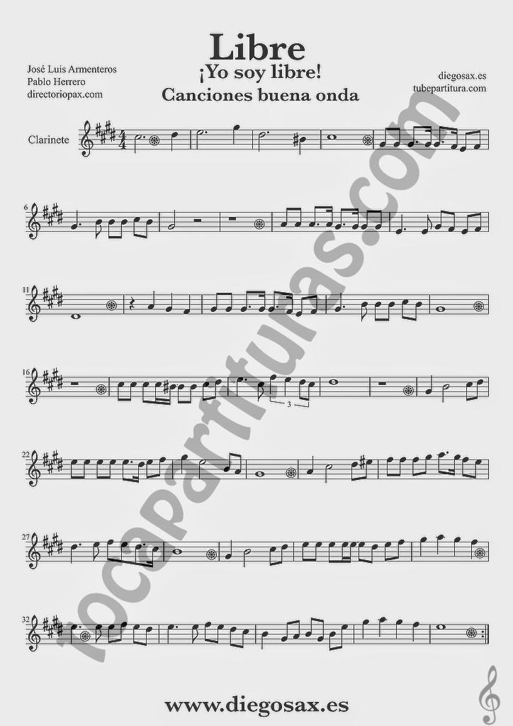Partitura de Libre para Clarinete Nino Bravo y El Chaval de la Peca  Sheet Music Clarinet Music Score Yo soy libre