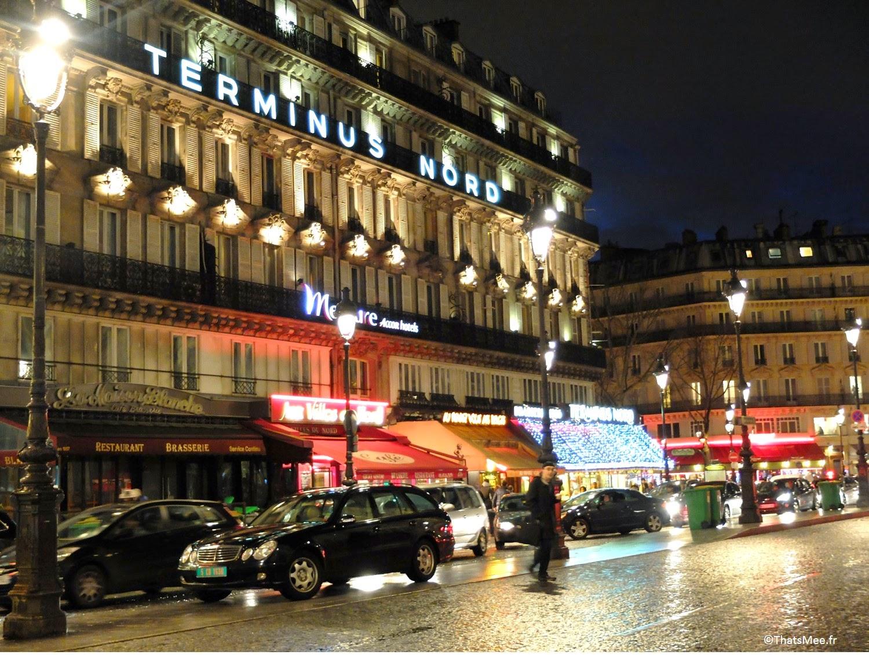 néons Gare du Nord Hôtel Mercure terminus Nord rue de Dunkerque Paris by night, ThatsMee.fr