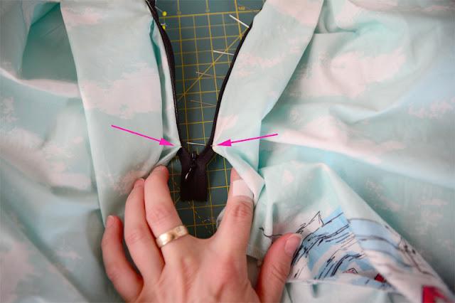 Tasche und (nahtverdeckter) Reißverschluss in der Seitennaht - eine Anleitung @frauvau.blogspot.de