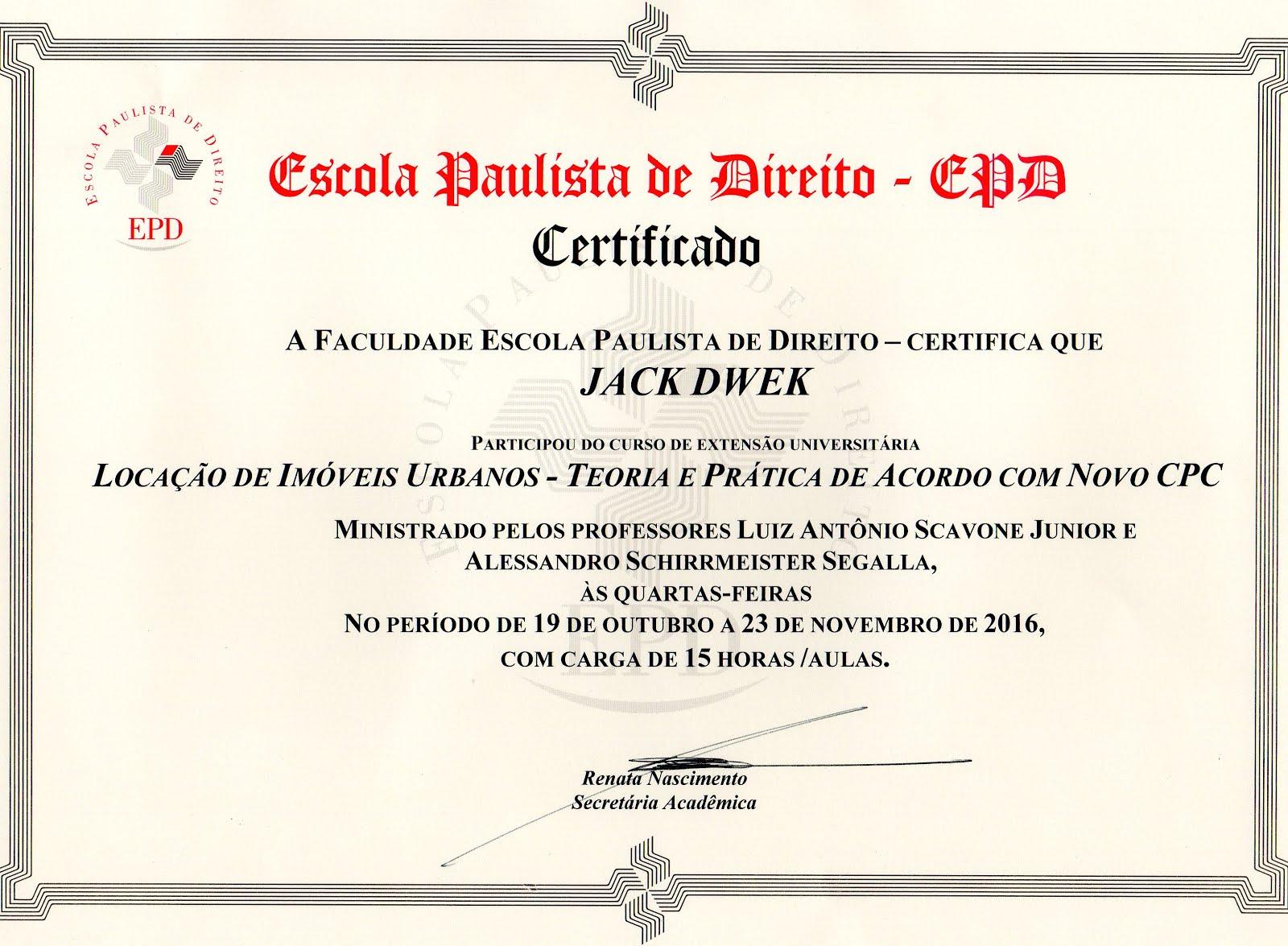 Certificado Curso EPD