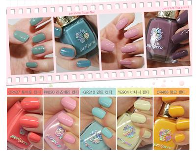Peripera nail polishes swatches