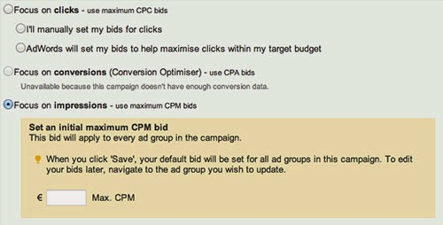 "Google AdWords: ""Set an initial maximum CPM bid""."