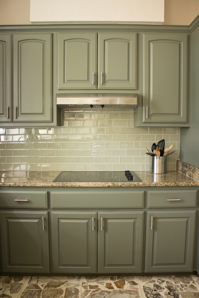 Our exciting kitchen makeover before and after design for Grey green kitchen cabinets